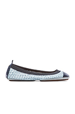Samantha Burnished Woven Flat in Skylight Blue