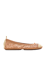 Samantha Burnished Woven Flat in Sienna & Pure Gold