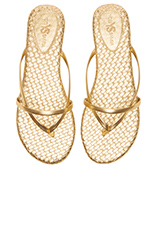 River Burnished Woven Flip Flop in Pure Gold