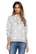 Stars All Over Hoodie in Grey Heather & Pirate Black