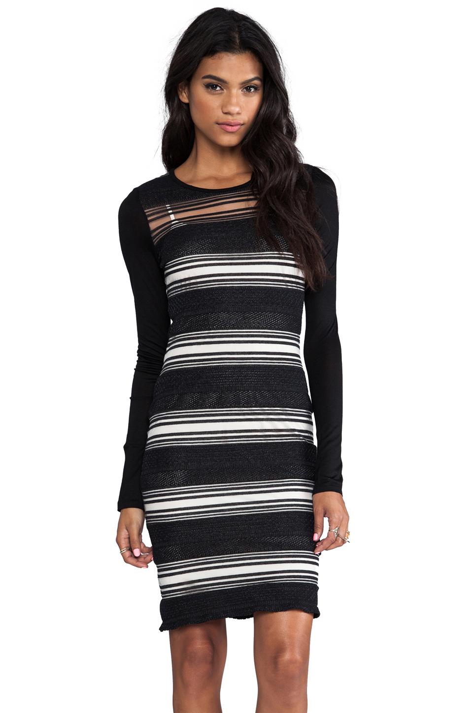 DEREK LAM 10 CROSBY Sheer Stripe Long Sleeve Dress in Black