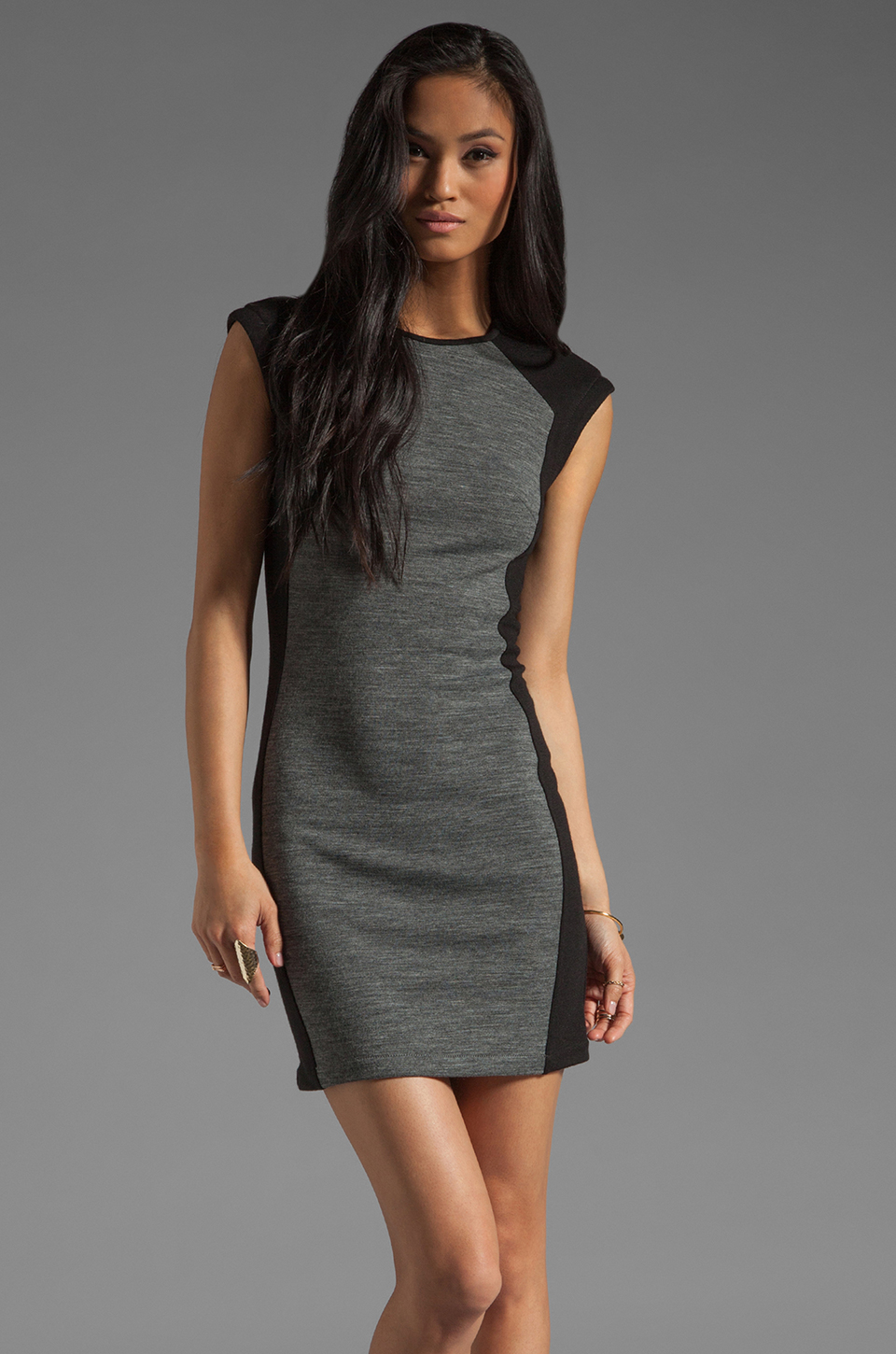 DEREK LAM 10 CROSBY Cap Sleeve Dress in Grey/Black