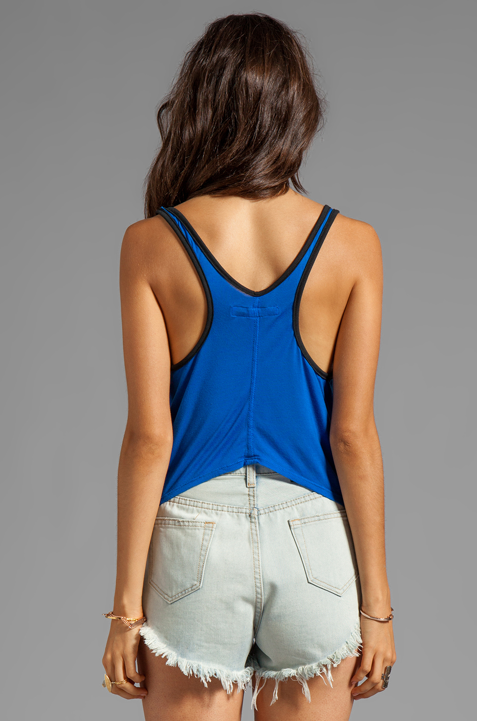 291 Love Light Curved Hem Tank in Electric Blue