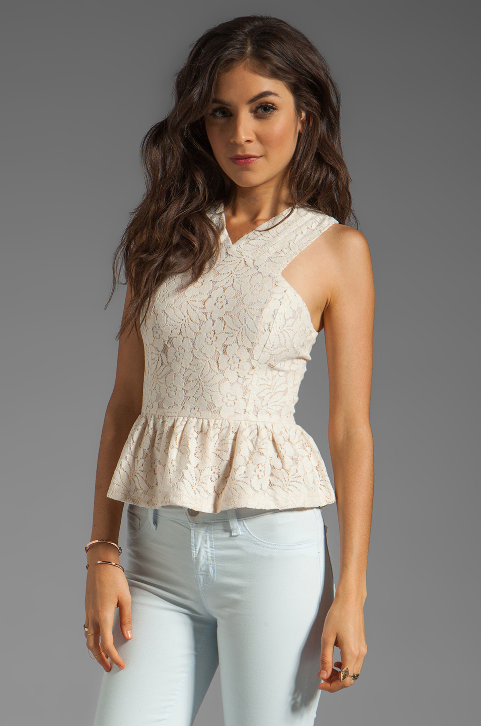 6 SHORE ROAD Lagoon Peplum Top in Coconut