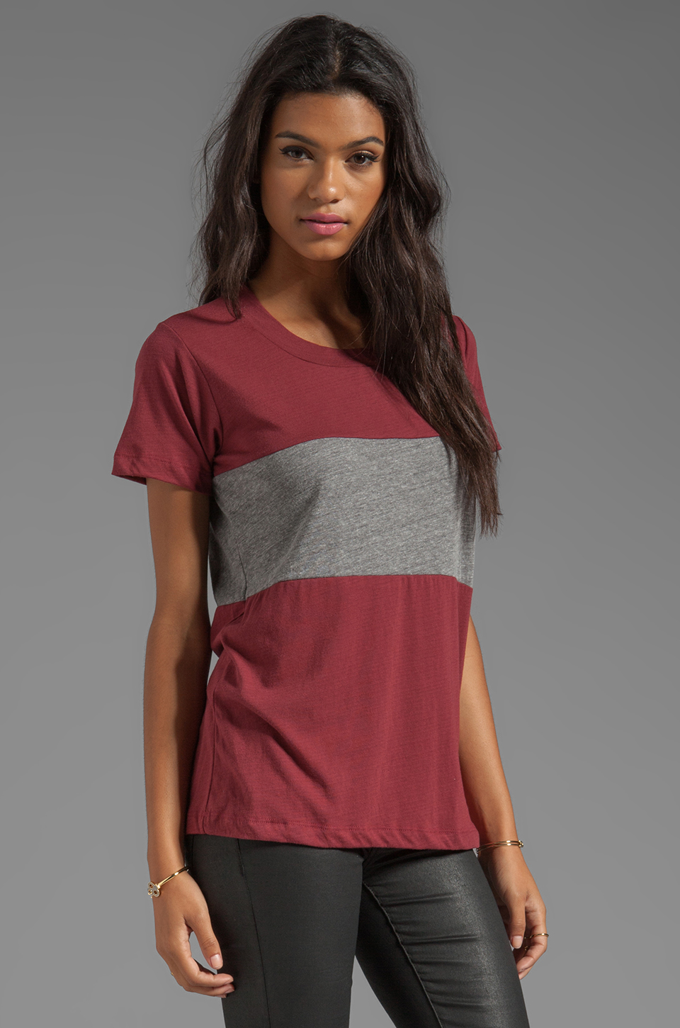 A Fine Line Davy Colorblock Tee in Mulberry/Heather Grey