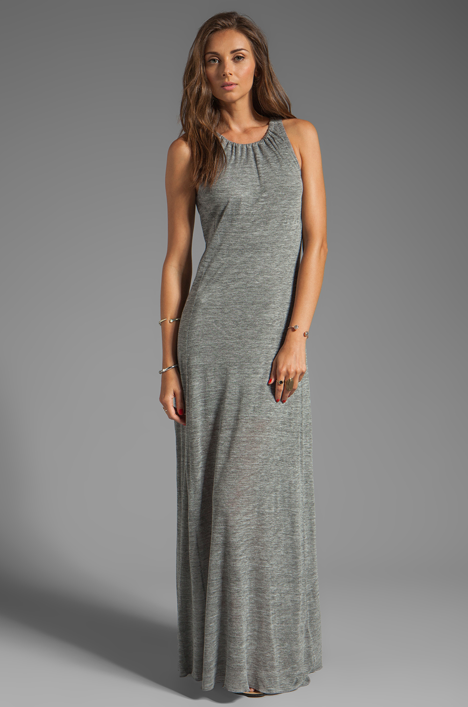 AG Adriano Goldschmied Coquette Maxi Dress in Heather Grey/Antique White