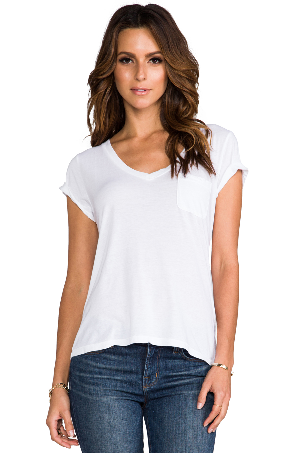 AG Adriano Goldschmied Pocket V Neck Tee in White