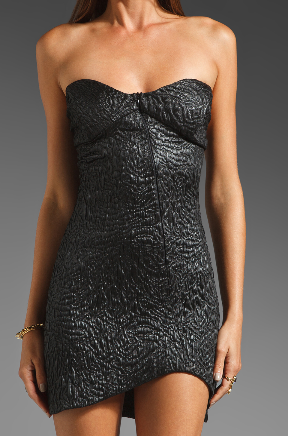 AGAIN Dixieland Textured Asymmetrical Tube Dress in Black