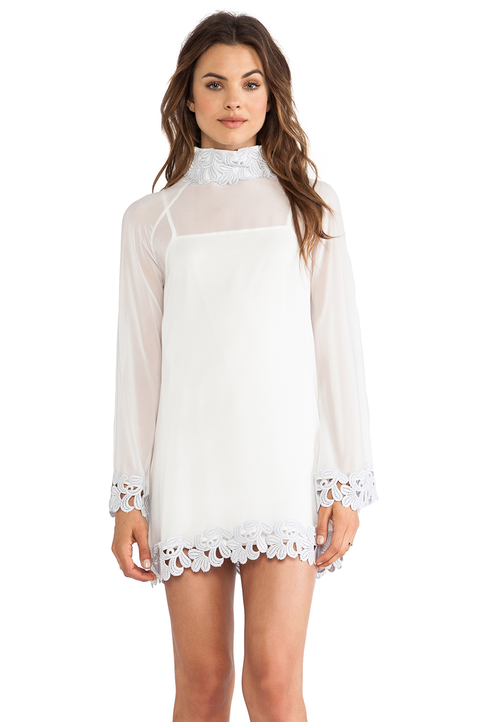 AGAIN Little Edie Parisian Laced Chiffon Bell Sleeve Dress in White Lavender