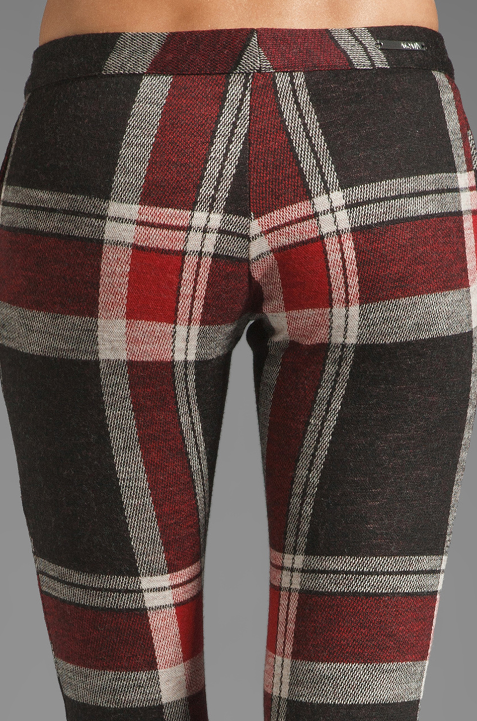 AGAIN Harding Stretch Lowrise Skinny Pant in Red Flannel