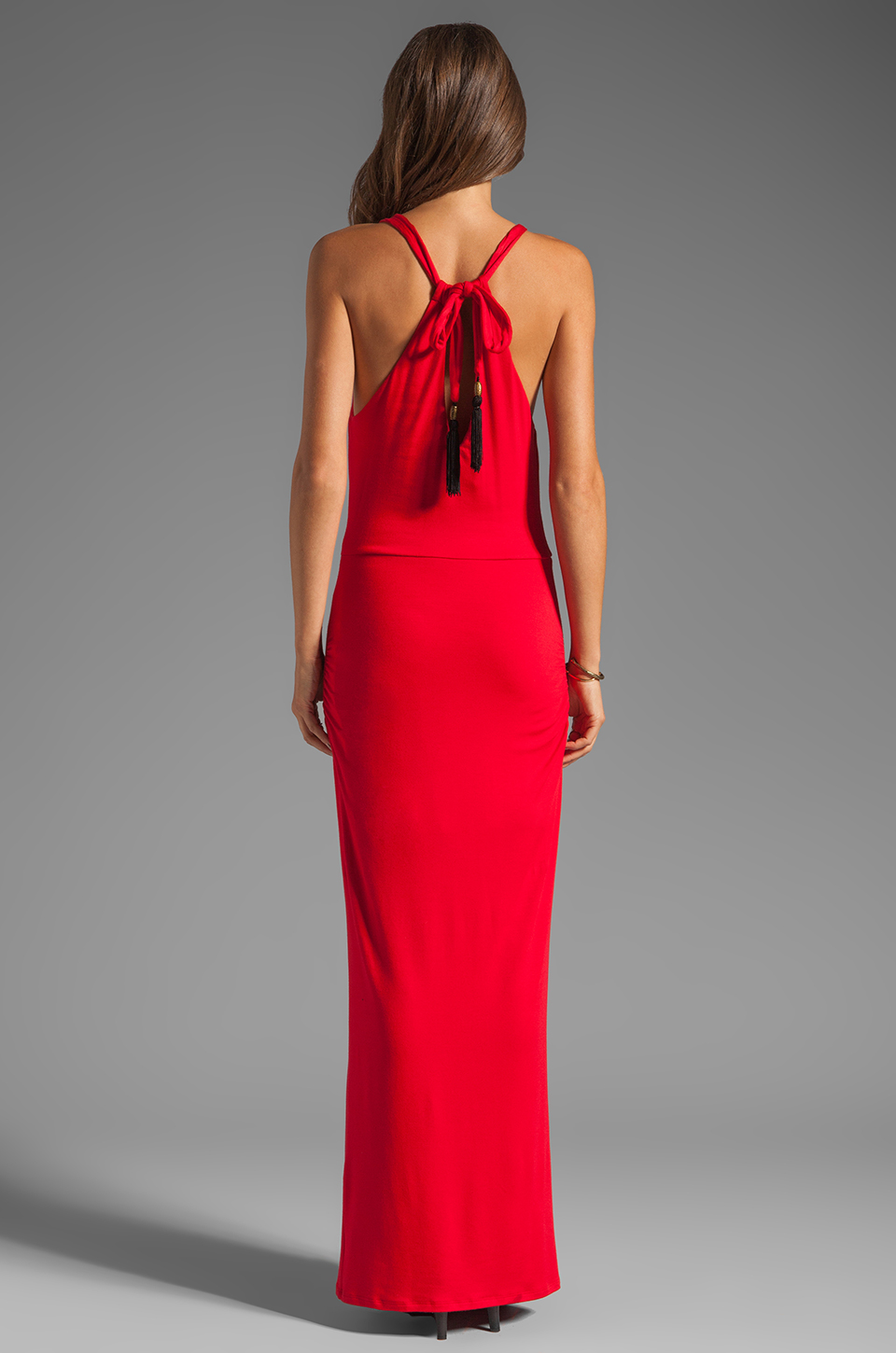 Akiko Rouched Front Maxi Dress in Scarlet