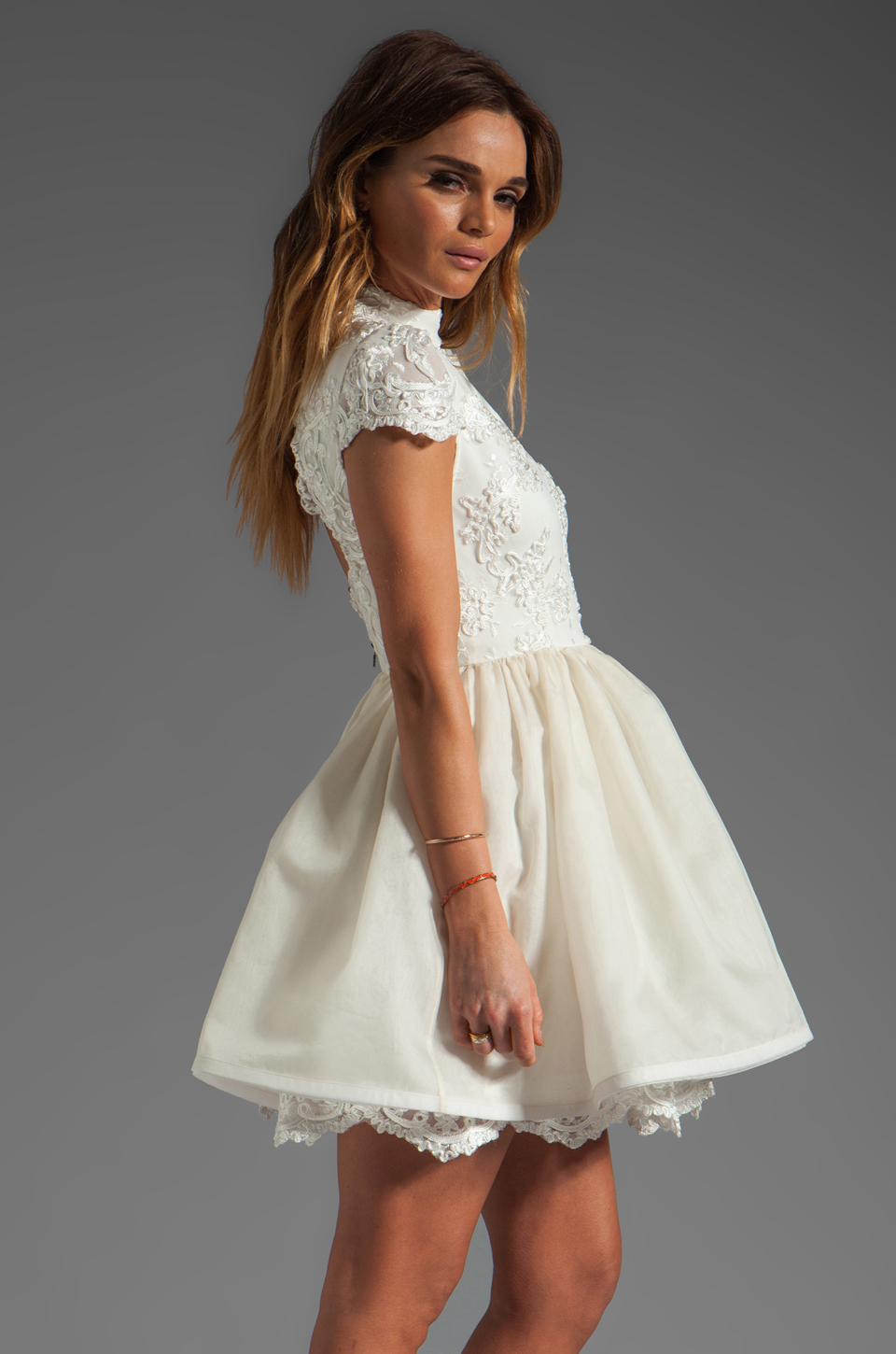 Alice + Olivia Fyona Lace Bodice Party Dress in Off White