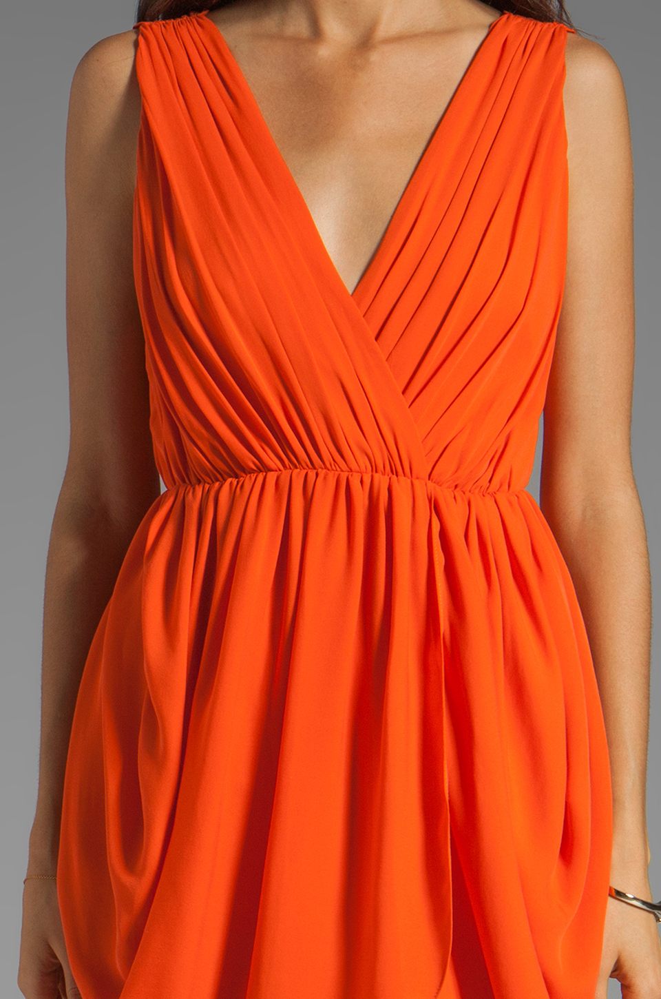 Alice + Olivia Cynthia Draped Tulip Skirt Dress in Sunset Orange