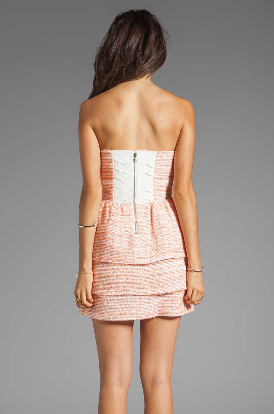 Alice + Olivia Shellyanne Bra Tank Tiered Skirt Dress in Orange