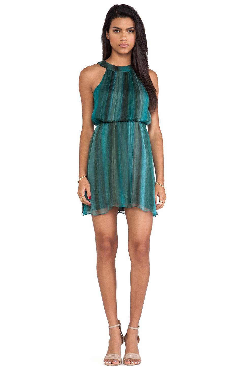 Alice + Olivia Jae Closed Back Dress in Teal