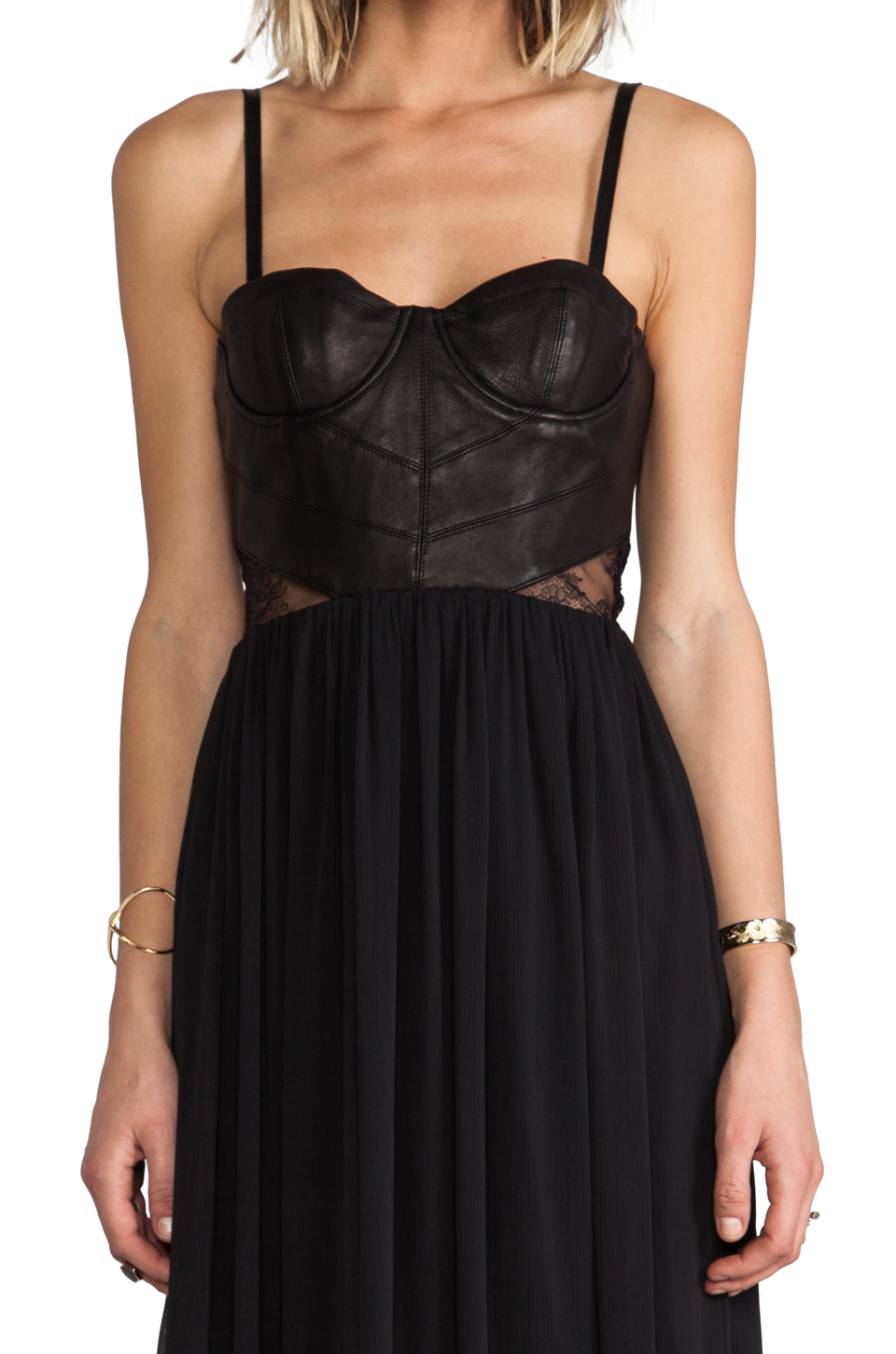 Alice + Olivia Elis Leather Structured Bodice Dress in Black