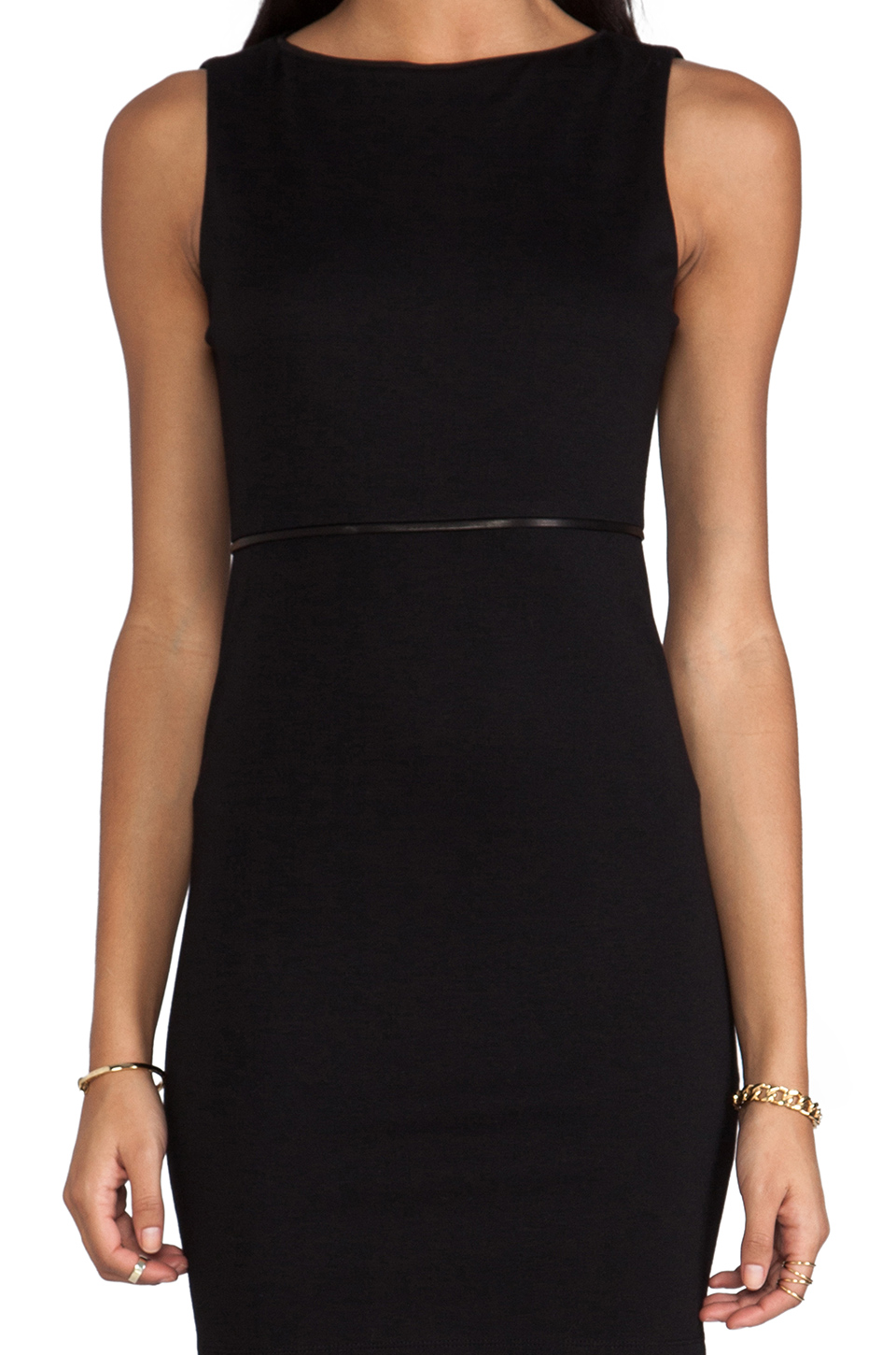 Alice + Olivia Darcey Sleeveless Leather Piped Dress in Black/Black