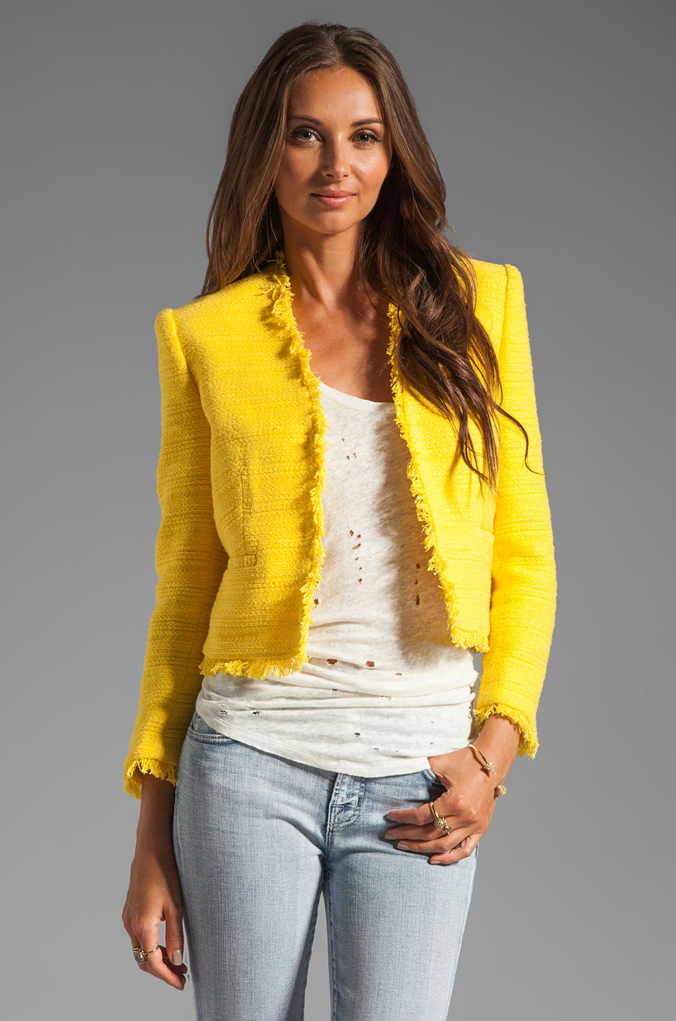Alice + Olivia Princeton Open Front Box Jacket in Light Yellow