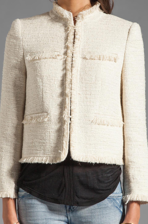 Alice + Olivia Fae High Collar Open Front Box Jacket in Cream Metallic