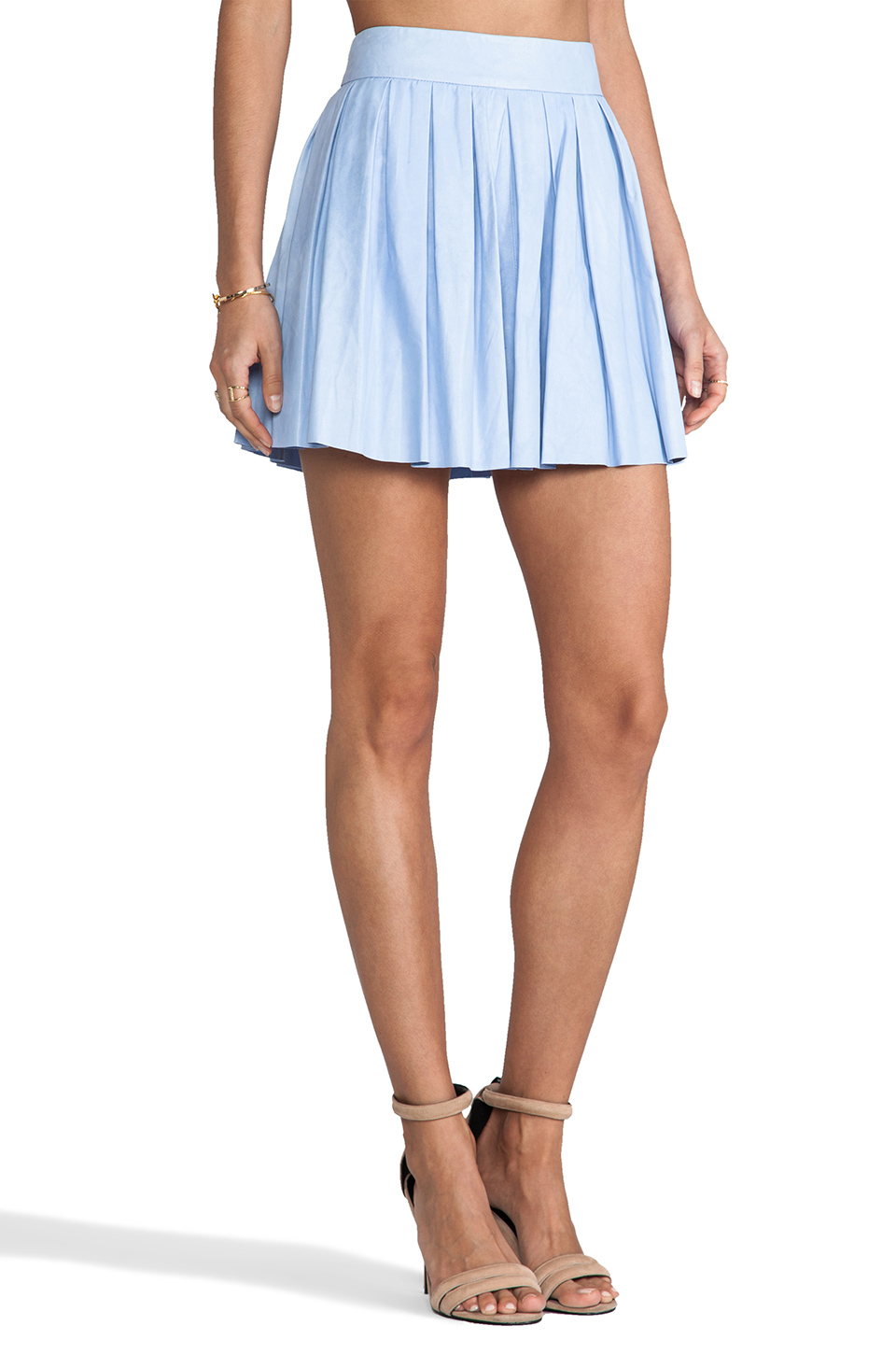 Alice + Olivia Box Pleat Leather Skirt in Sky Blue