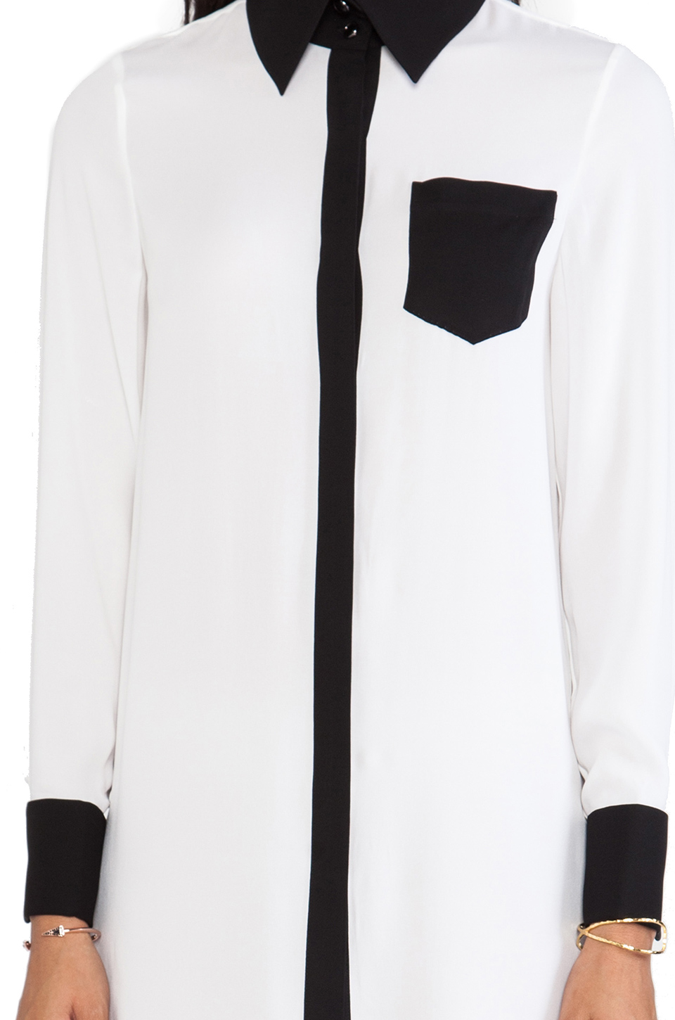 Alice + Olivia Cami Tunic Blouse in White/Black