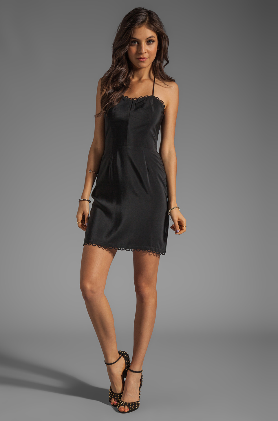 Amanda Uprichard Looped Mini Dress in Black