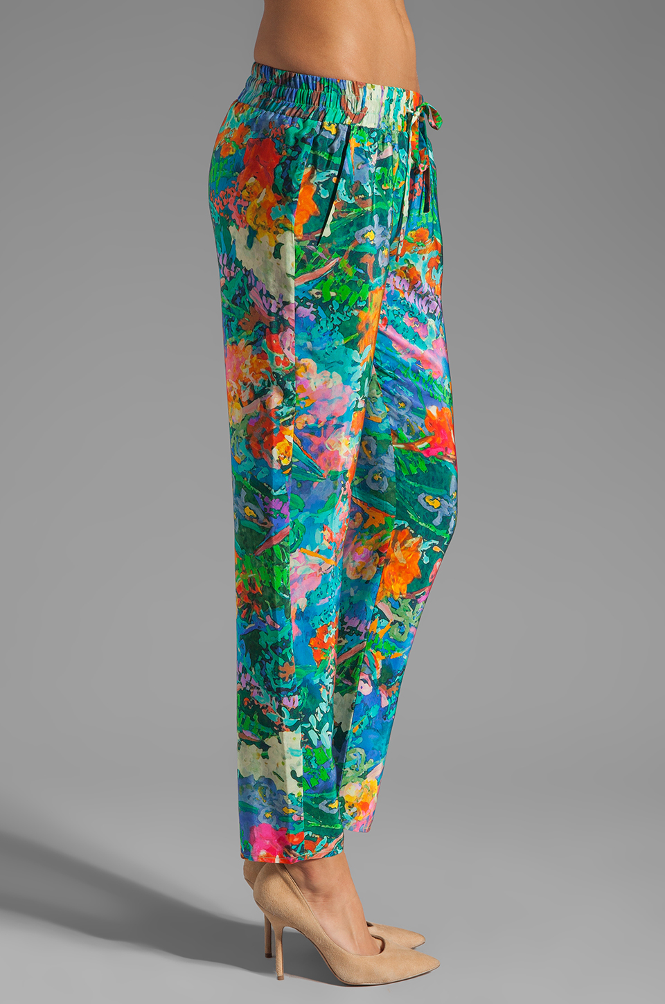 Amanda Uprichard Silk Tribeca Pants in Aqua Splash