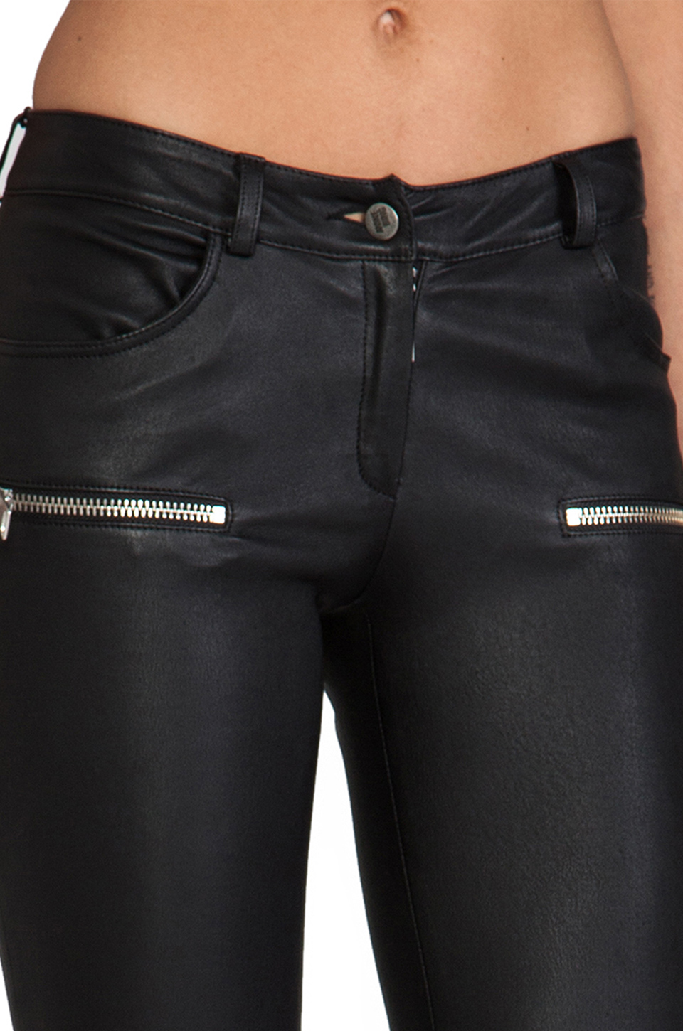 ANINE BING Leather Skinny Pant in Black