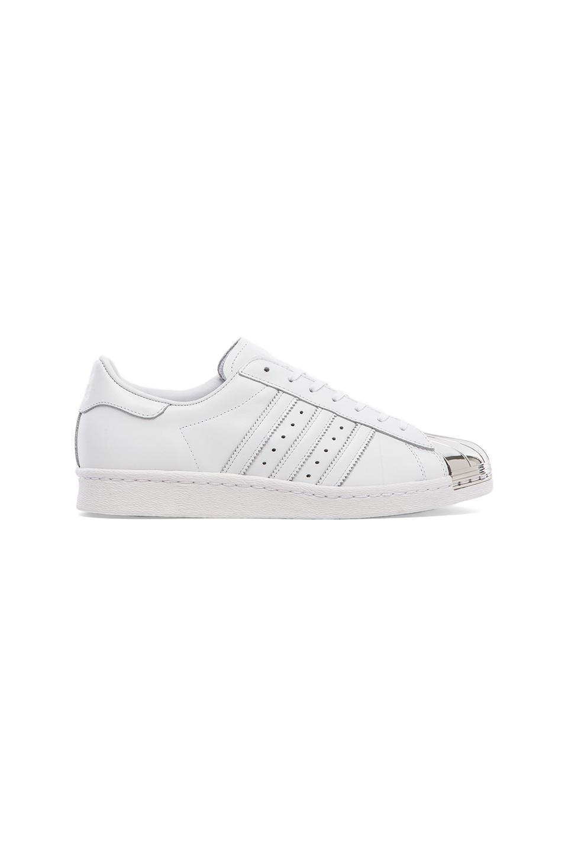 adidas Originals BLUE Superstar 80's Metal Toe Sneaker in White