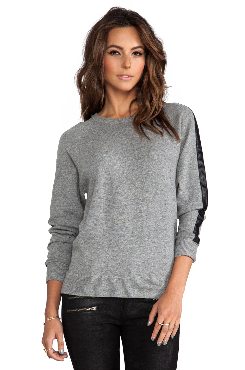 Autumn Cashmere Sweatshirt With Leather Trim in Cement/Black