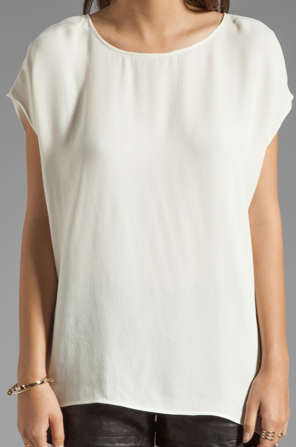 Backstage Short Sleeve Mandy Top in Ivory