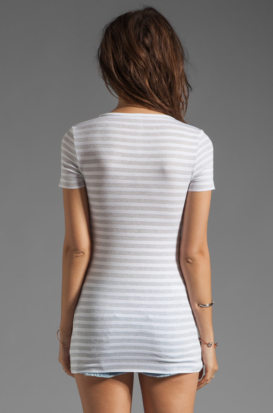 Bailey 44 Metallic Stripe Tee in White