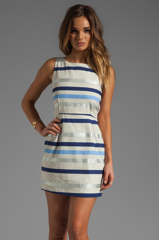 BB Dakota Delaine Stripe Dobby Dress in Multi Blue