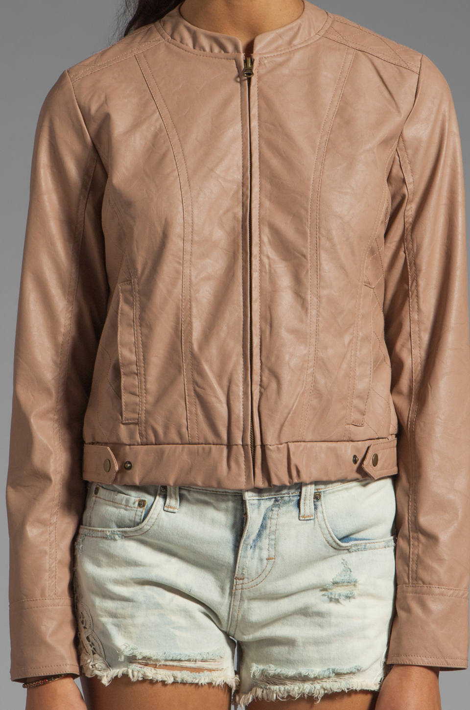 BB Dakota Lenon Quilted Faux Leather Moto Jacket in Pearl Rose