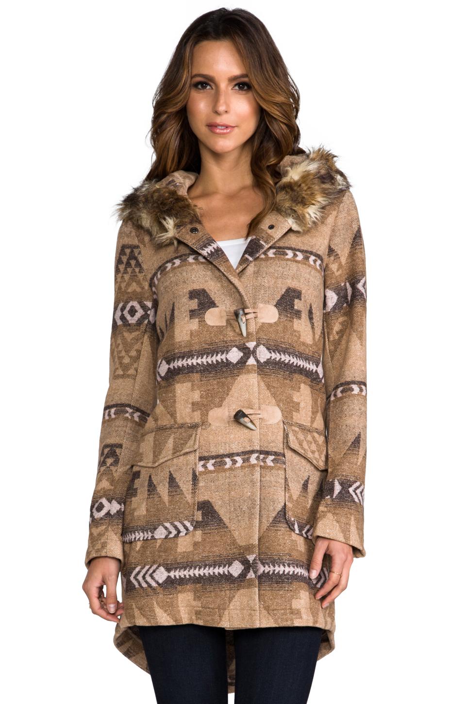BB Dakota Davina Faux Coyote Fur Trim Patterned Coat in Light Camel Beige