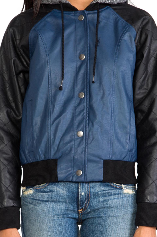 BB Dakota Cove Hoodie Bomber Jacket in Blue