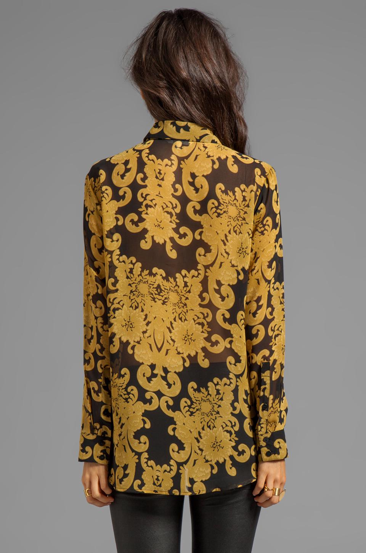 BB Dakota Edith Brocade Printed Chiffon Blouse in Black