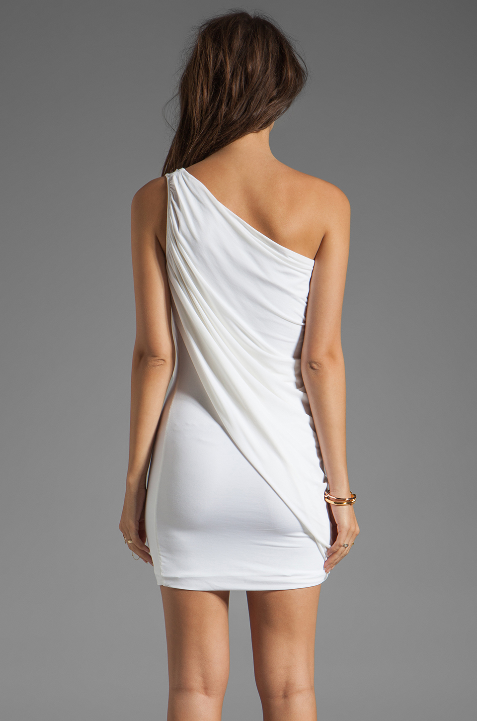 BCBGMAXAZRIA One Shoulder Mini Dress in White