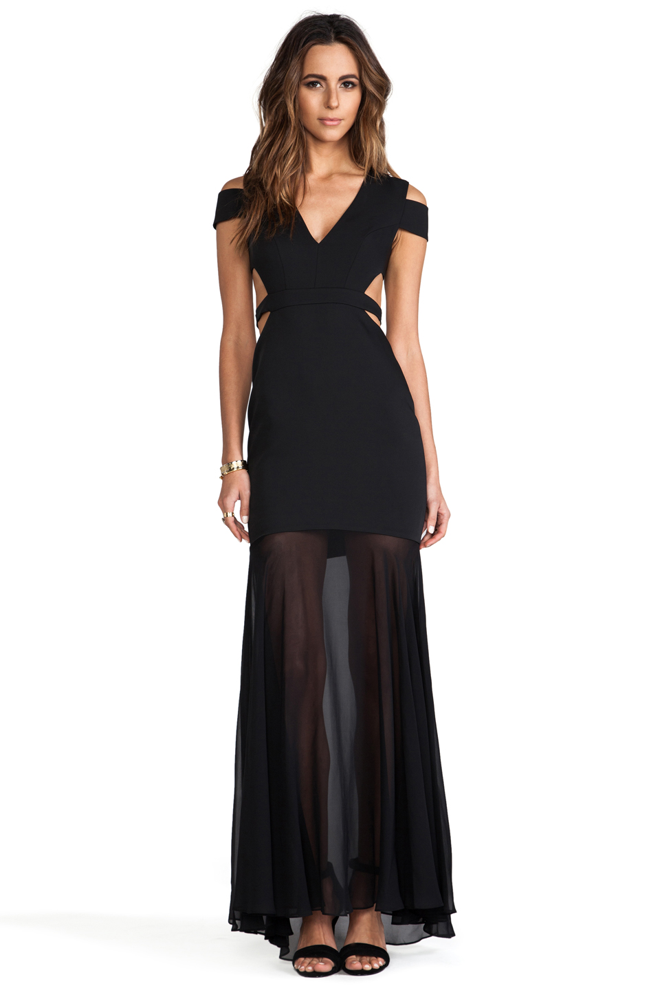 BCBGMAXAZRIA Cut-Out Maxi Dress in Black