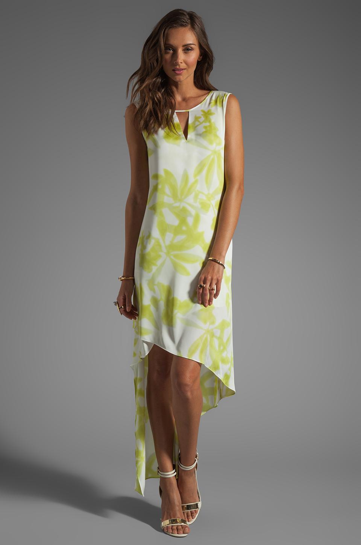 BCBGMAXAZRIA Hi-Low Dress in Gardenia/Light Lime