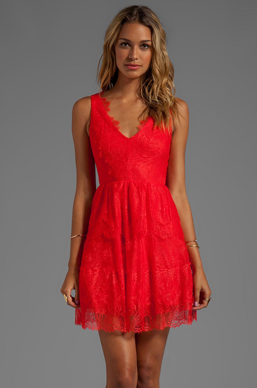 BCBGMAXAZRIA Sleeveless Lace Dress in Bright Poppy