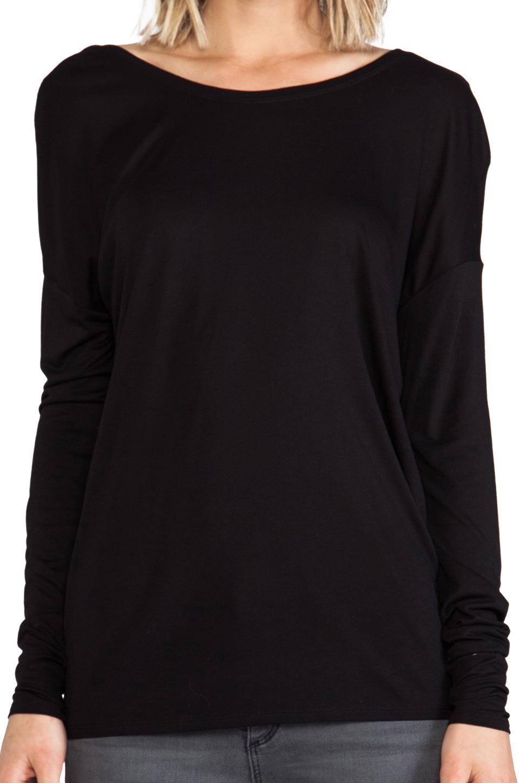 BCBGMAXAZRIA Draped Back Top in Black