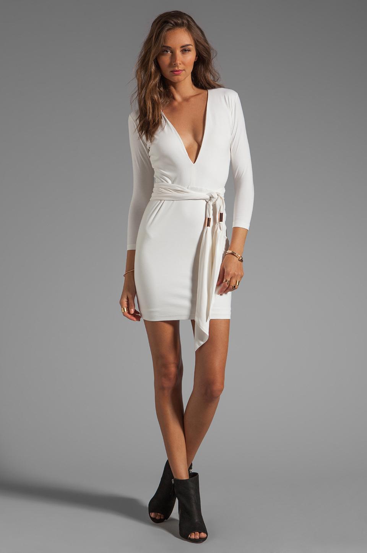 BEC&BRIDGE Exclusive Jaguar Long Sleeve Dress with Tie in White