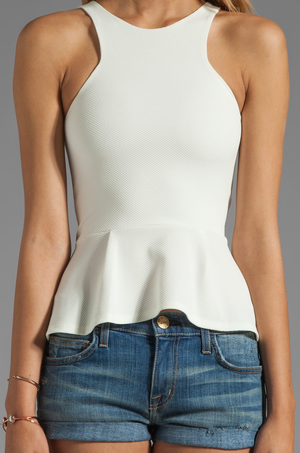 BEC&BRIDGE Estella Peplum Top in Ivory