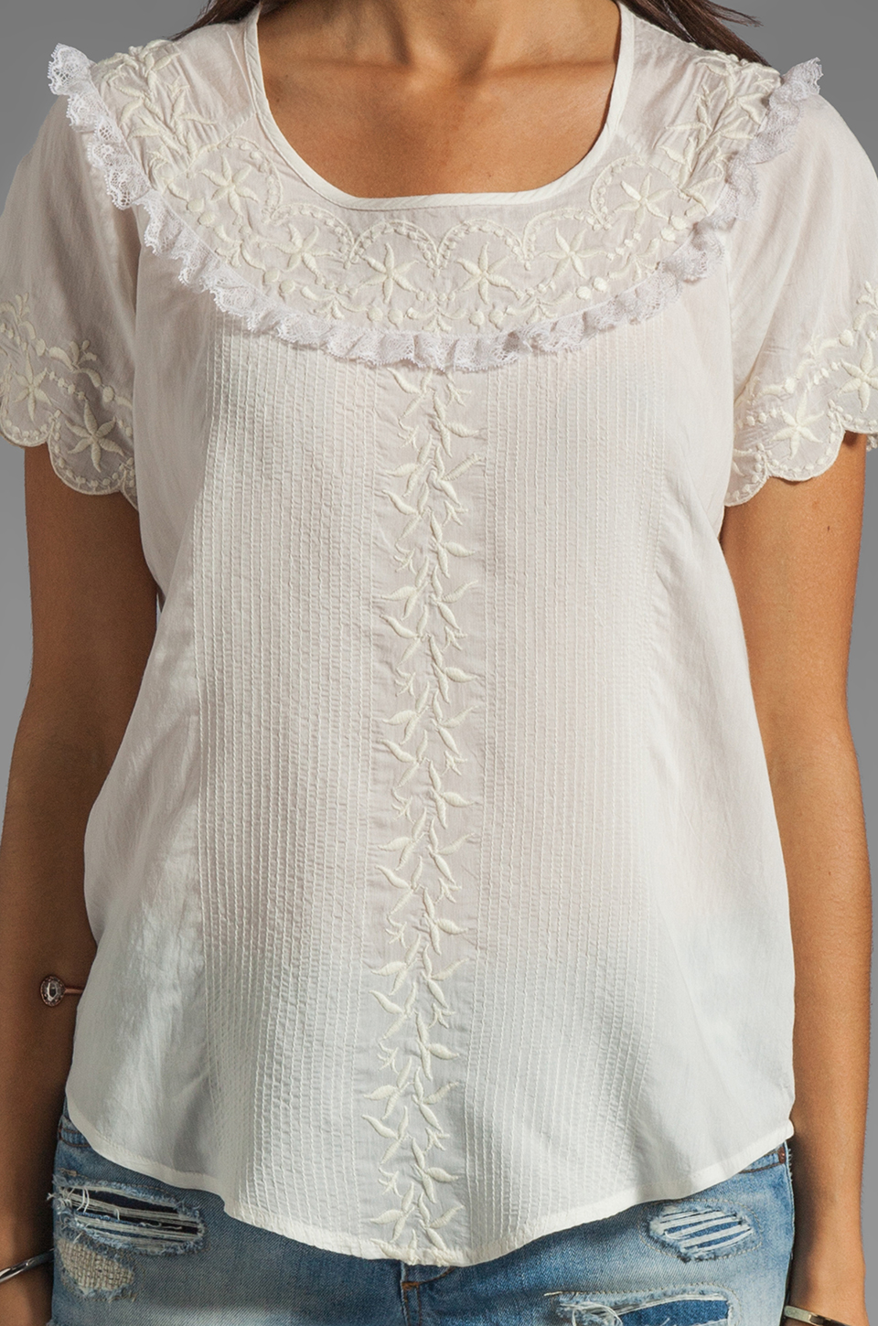 Beyond Vintage Silk Short Sleeve Shirt with Embroidery in Ivory