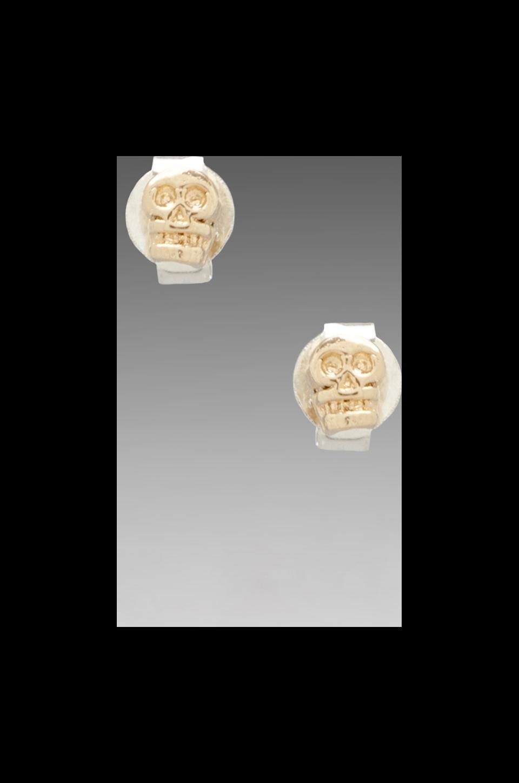 Bing Bang Tiny Skull Studs in Yellow Gold