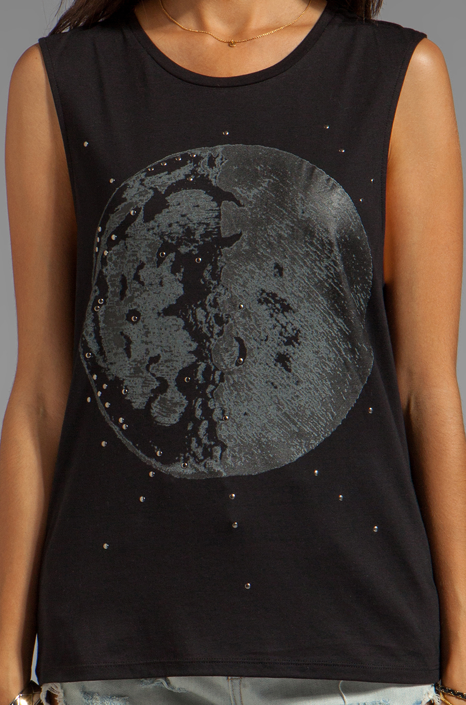 bless'ed are the meek Moon Tank in Black