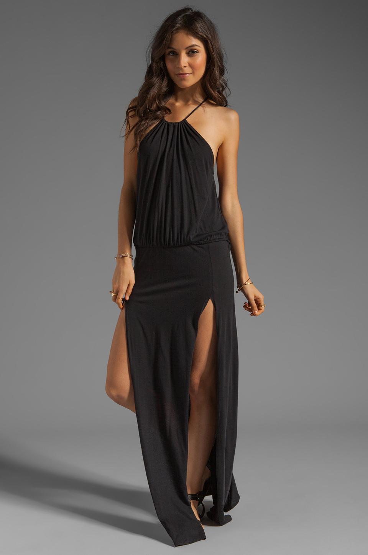 Blue Life Two Slit Halter Dress in Black