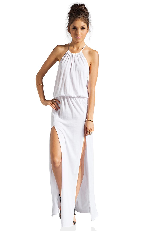 Blue Life Two Slit Halter Dress in White