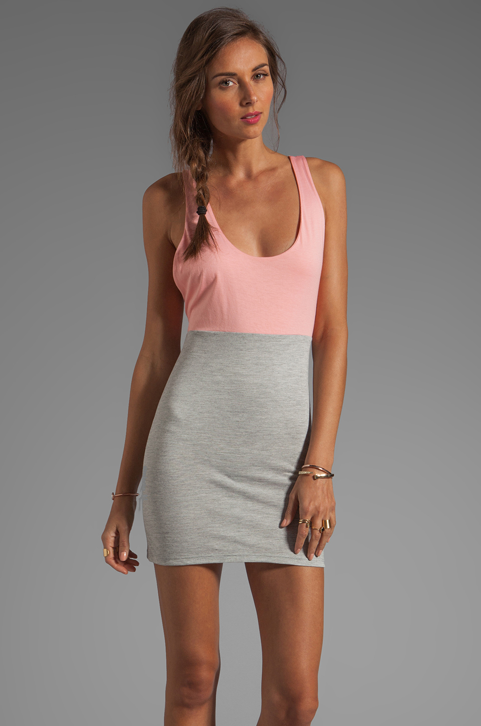 Blue Life Racer Back Dress in Heather/Apricot